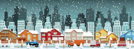 城市在冬天(圣诞节) 免版税图库摄影