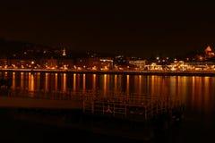 城市在晚上在布达佩斯 免版税库存图片