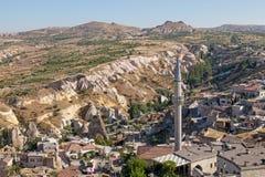洞城市在Cappadocia,土耳其 免版税图库摄影