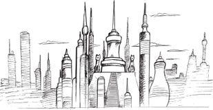 城市地平线剪影传染媒介 免版税库存照片
