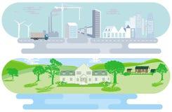 城市地平线和农村风景 库存例证
