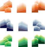 城市地平线和大厦传染媒介 商标和标志 库存图片