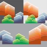 城市地平线和大厦传染媒介 免版税库存图片