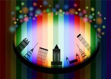 城市地平线在彩虹背景中 库存照片