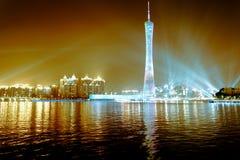 城市地平线在晚上 免版税库存图片