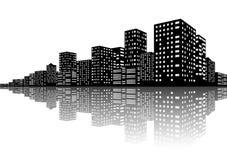 城市地平线夜场面 免版税图库摄影