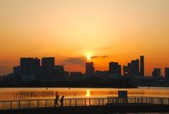 城市地平线日落 库存照片