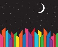 城市地平线建筑学在与满天星斗的天空的晚上 也corel凹道例证向量 库存照片
