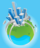 城市地球例证 库存照片
