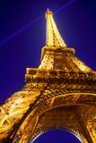 城市埃菲尔・法国横向晚上巴黎塔 免版税库存图片