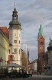 城市城堡博物馆和方济会修士教会在马里博尔 库存图片