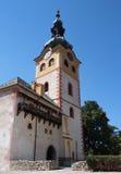 城市城堡塔在Banska Bystrica 免版税库存图片