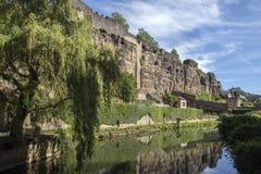 城市墙壁在卢森堡市-卢森堡大公国 免版税库存图片