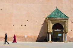 城市墙壁在梅克内斯老麦地那  库存图片