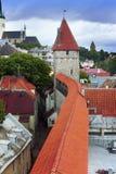城市墙壁的街道和塔 老城市 爱沙尼亚塔林 免版税图库摄影