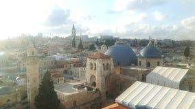 从城市墙壁看见的耶路撒冷 免版税库存照片