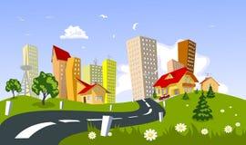 城市夏天向量 免版税图库摄影