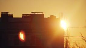 城市多层的大厦的都市风景等高在日落的 太阳看从房子的后面的早晨黎明 股票视频