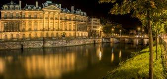 城市夜全景在史特拉斯堡法国 库存照片