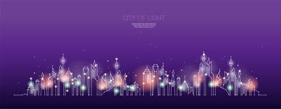 城市夜间微粒、几何艺术、线和小点  皇族释放例证