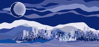 城市夜间 向量例证