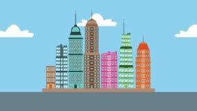 城市大厦从下来HD动画出现 库存例证