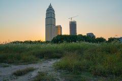 城市大厦从自然,汉口在W的区地平线涌现 免版税库存图片