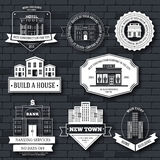 城市大厦标记象征元素,网和流动应用模板您的产品或设计的与文本 库存图片