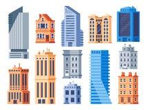 城市大厦 都市办公室外部、生存房屋建设和公寓被隔绝的传染媒介象集合 库存例证