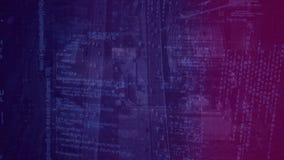 城市天空视图的数字动画有巨大的通信方式的与黑暗的紫色过滤器 库存例证