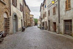 城市奥尔维耶托,意大利,托斯卡纳街道  免版税库存照片