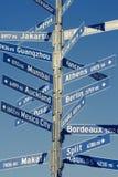 城市定向行驶里程符号世界 免版税库存图片