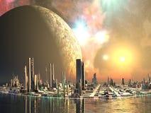 城市将来的海岛乌托邦 向量例证