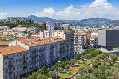城市尼斯,法国鸟瞰图  免版税库存照片