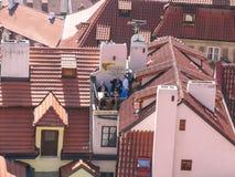 城市布拉格的吸引力 雕象和纪念碑 历史大厦 库存照片