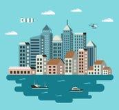 城市平的例证 免版税库存图片