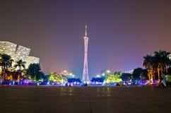 城市广州晚上塔 免版税库存照片