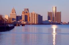 城市底特律地平线 免版税库存图片