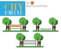 城市建造者设置了6 :长凳和公园 向量例证