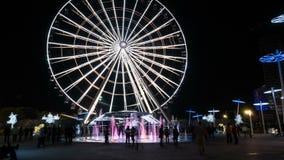 城市弗累斯大转轮和人在晚上 股票录像