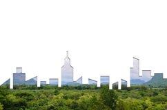 城市形状图表在森林纹理背景的 绿色大厦建筑学 免版税库存照片