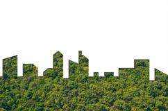 城市形状图表在森林纹理背景的 绿色大厦建筑学 图库摄影