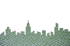 城市形状图表在水纹理背景的 绿色大厦建筑学 库存照片
