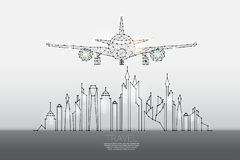 城市微粒、几何艺术、线和小点有空气计划的 向量例证