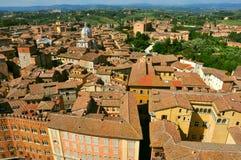 城市意大利全景siena 免版税库存图片