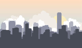 城市房子太阳背景都市风景 库存照片