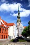 城市拉脱维亚老里加 免版税库存图片