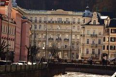 城市捷克karlovy共和国塔变化视图 库存图片