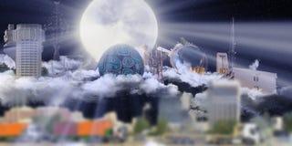 城市接近的著名吉达地标 免版税图库摄影