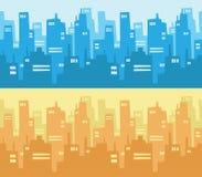 城市摩天大楼剪影背景 免版税库存照片